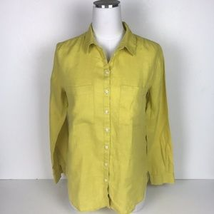 Boden Yellow Top - The Linen Shirt